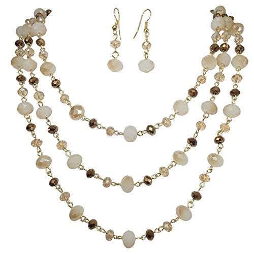 3 Row Layered Beveled Glass Beaded Boutique Style Necklace And Earrings Set (Brown & - Glasses Fake Trend