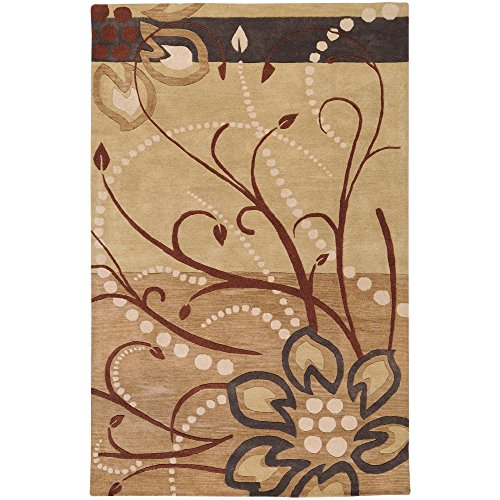 Surya Athena ATH-5006 Transitional Hand Tufted 100% Wool Dark Khaki 8' x 11' Floral Area Rug (811 Dark Khaki Color)