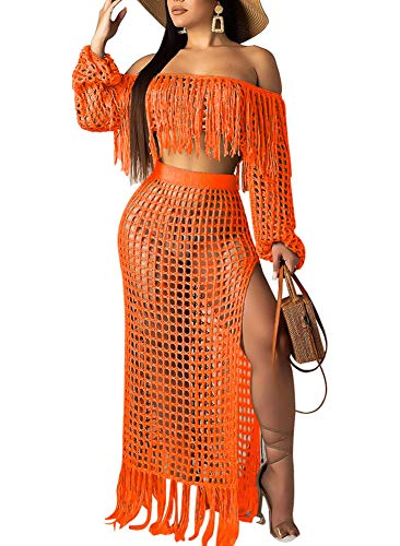 Womens Sexy Off The Shoulder Mesh See Through 2 Piece Outfits Crop Top and Club Party Dress Skirt Sets Orange
