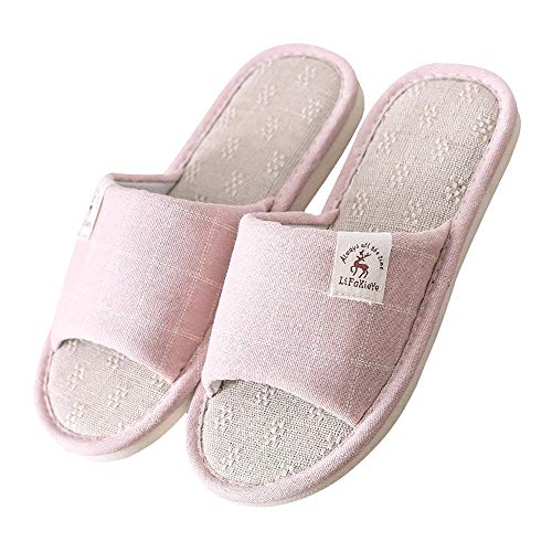 Coton extérieur Et Bout Intérieur Tissu Pink Pantoufles À Universal Ouvert Seasons Antidérapantes En Lin Chaussures Carreaux Four Femmes yS6pq6XZ