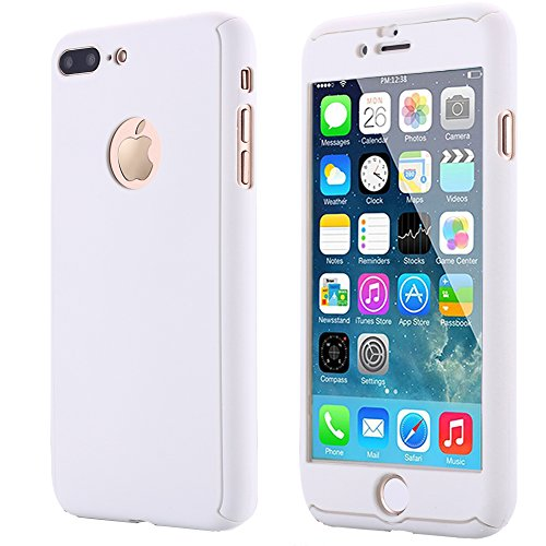 iPhone 7 Plus Case,AICase Ultra Thin Full Body Coverage Protection Soft PC [Dual Layer][Slim Fit] Case with Tempered Glass Screen Protector for iphone 7 Plus (White) (White Protector Case)