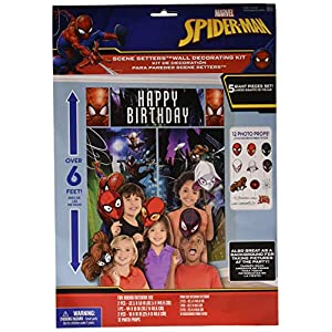 Amscan Spider-Man Webbed Wonder Scene Setter with Props, Birthday