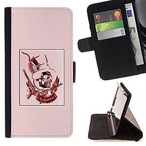 BullDog Case - FOR/Samsung Galaxy S5 V SM-G900 / - / RED PINK TOP HAT REVOLVER PRESIDENT /- Monedero de cuero de la PU Llevar cubierta de la caja con el ID Credit Card Slots Flip funda de cuer
