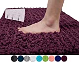 Yimobra Luxurious Shaggy Chenille Bath Mat Microfiber for Hotel-Spa Tub Shower Floor Non-Slip High Absorbent Soft Large, 31.5 X 19.8 Inch Plum (Presented Wall Hooks 3 Pack)