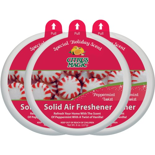 Citrus Magic Holiday Edition Odor Absorbing Solid Air Freshener, Peppermint Twist, 3 Pack, 8-Ounces Each