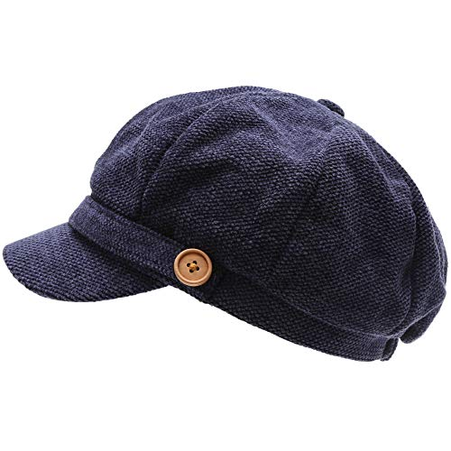- MIRMARU Women's Classic Visor Baker boy Cap Newsboy Cabbie Winter Cozy Hat with Comfort Elastic Back (Chenille Navy)
