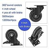 GloEra 4 inch Swivel Caster Wheels Heavy Duty 1200
