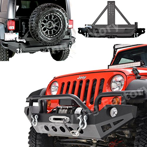 Restyling-Factory-07-16-Jeep-Wrangler-JK-Front-Bumper-with-OE-Fog-Light-Hole-2x-D-RingRear-Bumper-with-Tire-Carrier-2Hitch-Receiver-Textured-Black-Combo-Black