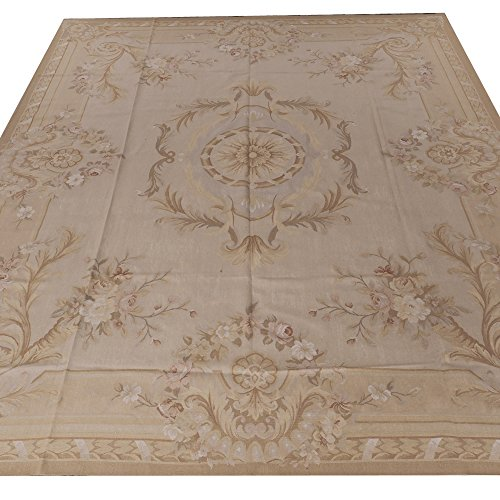 Yilong Carpet 11' x 14' Oversize Floral Handmade French Aubusson Wool Carpet Pastel Color Large Handmade Floor Rugs W32C11X14