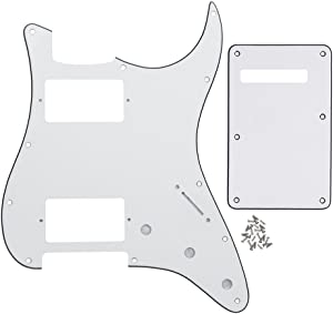 IKN 3Ply White Strat HH Pickguard Back Plate Tremolo Cavity Cover w/Screws for Standard Strat Modern Style Big Apple Guitar Replacement
