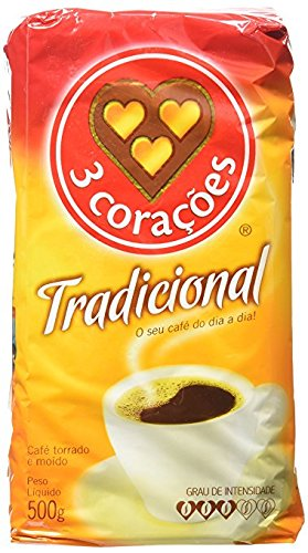 3 Coracoes Traditional Coffee 17.6oz | Café Tradicional 500g (Pack of 4)