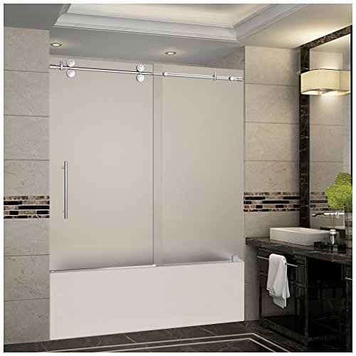 "Aston Langham 56"" to 60"" x 60"" Completely Frameless Tub-Height Sliding Shower Door in Frosted Glass, Chrome"