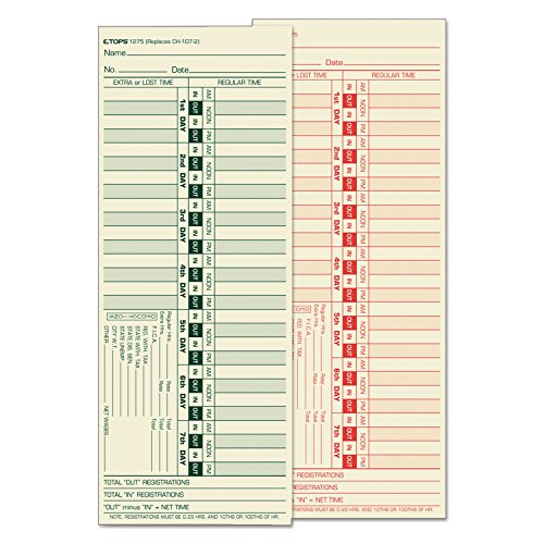 TOPS 1275 Time Clock Cards, Bi-Weekly, Two-Sides, 3-1/2