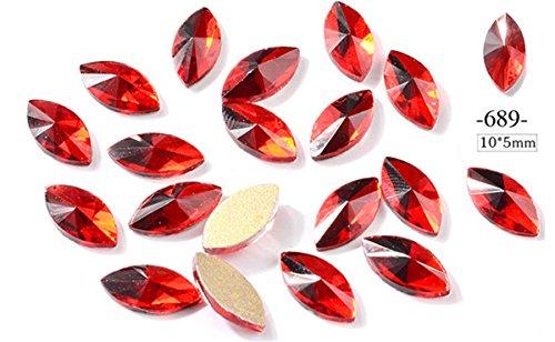 - Mezerdoo 20pcs Nail Art Decoration Water Drop Moon Heart 3D Tips Acrylic Accessories Manicure Tool Red Nails Rhinestone Crystal Glitter DIY Design Gel Polish (689)