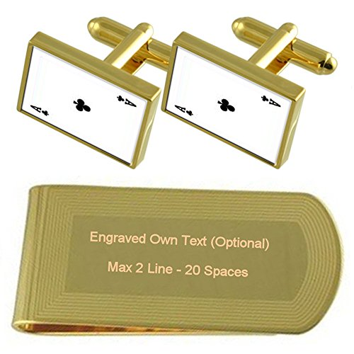 Playing Club Engraved Set Card Money Gift tone Clip Gold Cufflinks Ace RFpF6Aq