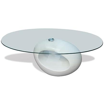 Tavolino salotto moderno vetro design bianco ovale: Amazon.it ...
