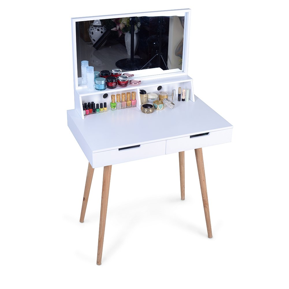 Facilehome Dressing Vanity Table Dressing Table Makeup Desk with Mirror and 2 Makeup Drawers,White