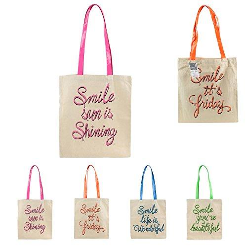 thème 4 Cours au Humour Bag Coton Inscriptions Sac de Rose Courses Fluo KineaConcept Choix de Sac Cabas Rose Sac Tote tq4c1