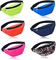 Ibeauti 6 Pcs Neon Fanny Packs Fashion Waist Bags with Adjustable Strap 2 Pouches, Men Women Waterproof Belt B