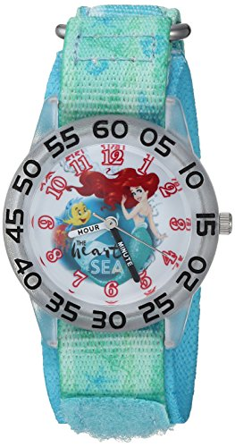 Disney Girl's 'Princess Ariel' Quartz Plastic and Nylon Casual Watch, Color:Green (Model: WDS000173)