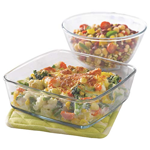 Borosil Glass Mixing Bowl and Square Dish with Lid Set, 2-Pieces, Transparent Price & Reviews