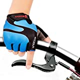 Ezyoutdoor Blue Unisex Half Finger Cycling Gloves with Light Silicone Gel Pad For for Cycling MTB Exercise Skate Skateboard Roller Skating (Small)
