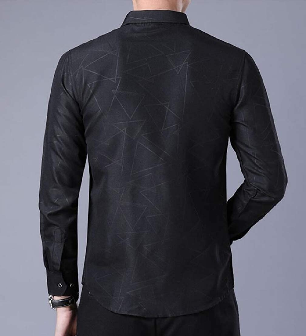 Generic Mens Long Sleeve Solid Wrinkle Free Casual Patterns Button Front Shirts