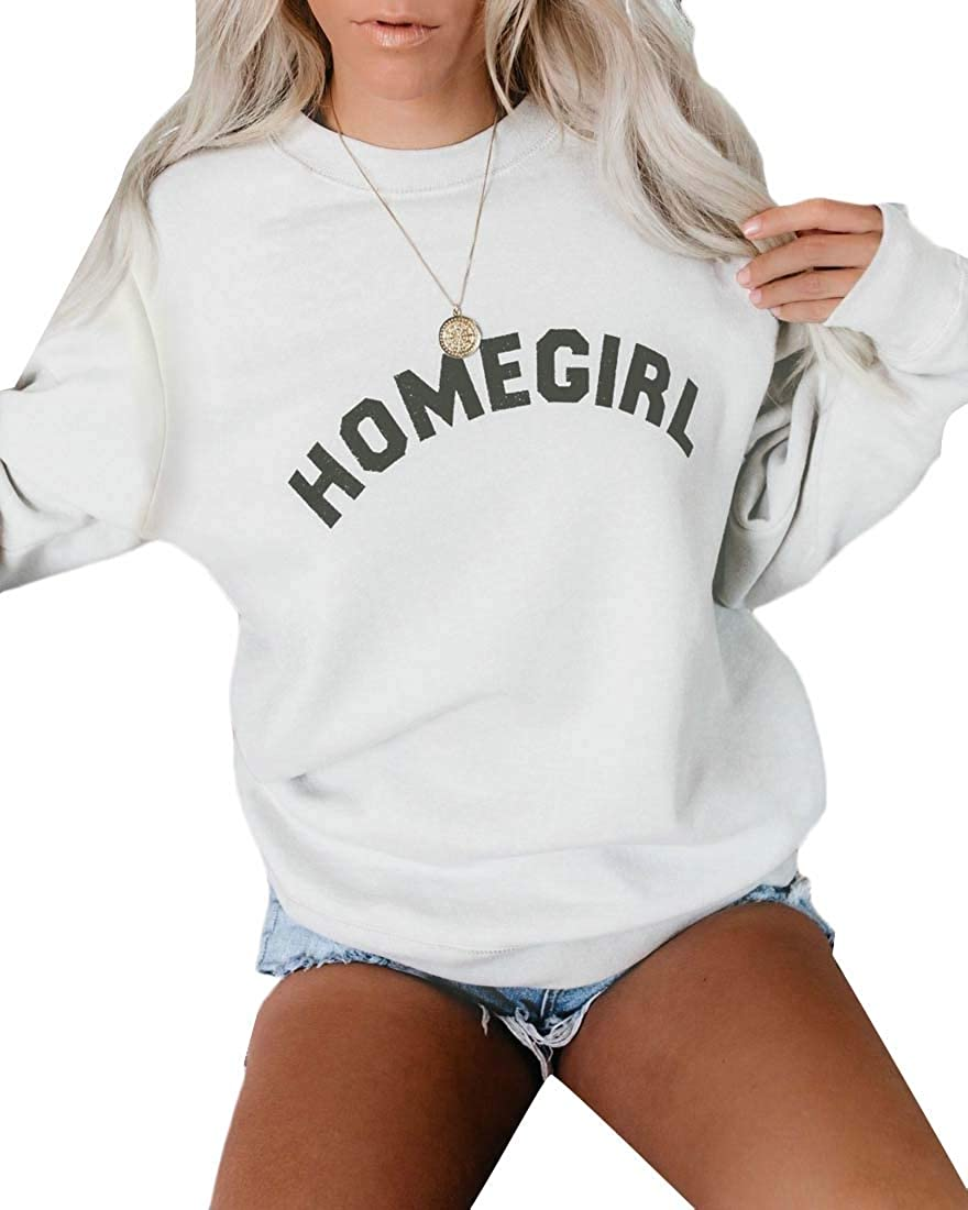 Fubotevic Womens Plus Size Letter Print Long Sleeve Loose Pullover Sweatshirt