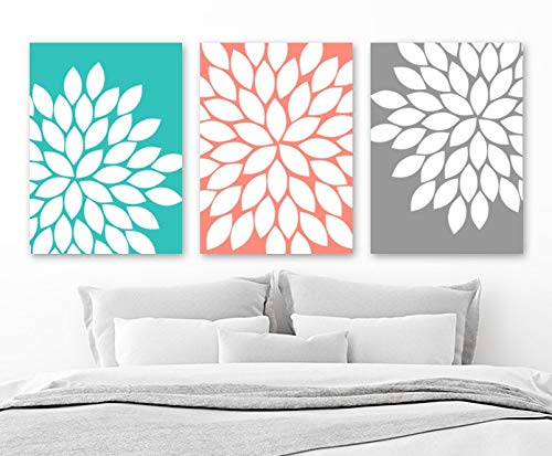 (Blafitance Turquoise Coral Wall Art, Flower Petal Art, Flower Canvas or Prints Floral Bedroom Wall Decor, Coral Gray Flower Bathroom Decor, Set of 3)