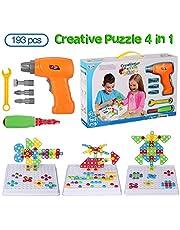 BeebeeRun 4 en 1 Tablero de Mosaico Juguete eléctrico, Rompecabezas Bricolaje, construcción de Juguetes, Creativos Juguetes 193 PCS con 18 Tarjetas de Animales