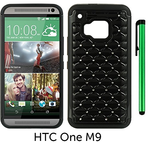 Diamond Leather Touch Htc - HTC One M9 (2015 HTC New Flagship Android Phone; US Carrier: Verizon Wireless, AT&T, Sprint, and T-Mobile) Hybrid Spot Diamond Phone Case - Premium Spot Diamond 2-layer Hybrid Protector Cover Case + 1 of New Metal Stylus Touch Screen Pen (BLACK)