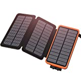 Hiluckey Solar Charger 24000mAh Waterproof Power Bank with 3 Panels Portable Battery Pack for Cell Phones, Tablets, GPS, Camera, Outdoor Hiking