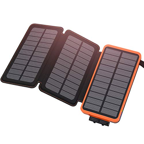 Solar Charger 24000mAh, ADDTOP Solar Power Bank Dual USB Ports Waterproof Foldable External Battery Pack with SOS Flashlight for Smartphones, Tablets and More