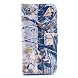 "iPhone 6 Plus Case, BEST- Eshop Camouflage Camo Print Tree PU Leather + Silicone Magnetic Flip Wallet Card Case Cover with Stand for Apple iPhone 6 Plus 5.5"" 5.5 Inch, With Credit Cards Slots/ Money Holder"