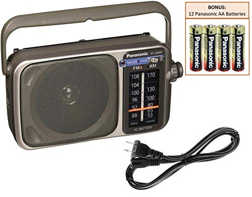 Panasonic RF-2400D Portable AM/FM Radio Player | Rugged Shortwave Pocket Radio | Battery Operated Vintage Transistor Radio | Large Tuning Knob | Best Reception | Includes 12 Panasonic AA Batteries (Fm Portable Radio With Best Reception)