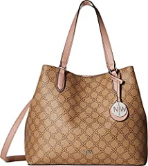 We bet you're going to love this chic Nine West® Bryn Tote. Made of synthetic leather.  Magnetic-snap closure.  Dual flat carrying handles.  Removable and adjustable crossbody strap.  Exterior features a slip pocket at the back and a removab...