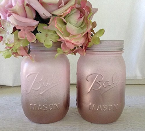 Set of 2 Rose Gold and Blush Pink Painted Mason Jars Centerpieces, Baby Shower, Rustic Wedding Supplies, Bridal, Shabby Chic (Nursery Painted Table)