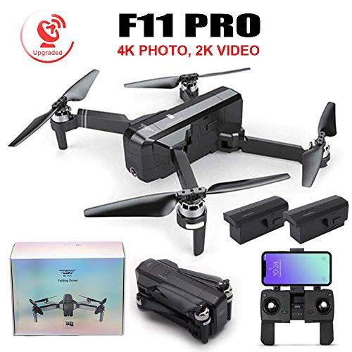 YOUDirect Upgraded SJRC F11 PRO GPS Drone 4K Photo 2K Video Foldable 1080P Camera RC Quadcopter with iOS Android App Control 5G WiFi FPV One-Key RTH Headless Follow Me 3D Visual (F11 Pro + 2 Battery)