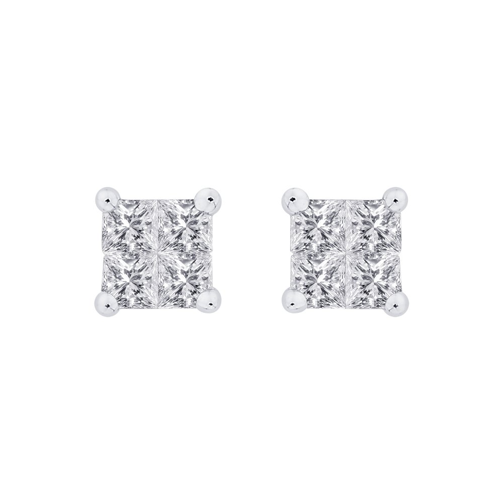 KATARINA Prong Set Princess Cut Diamond Stud Earrings in Gold or Silver 1//3 cttw, H-I, I2-I3