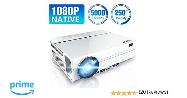 [Actualizado] Proyector Full HD 1080p Nativo, Soporta 4K, 5000 Lúmenes, ABOX LED Proyector, Resolución Nativa 1920 * 1080P, Proyector de Vídeo para ...