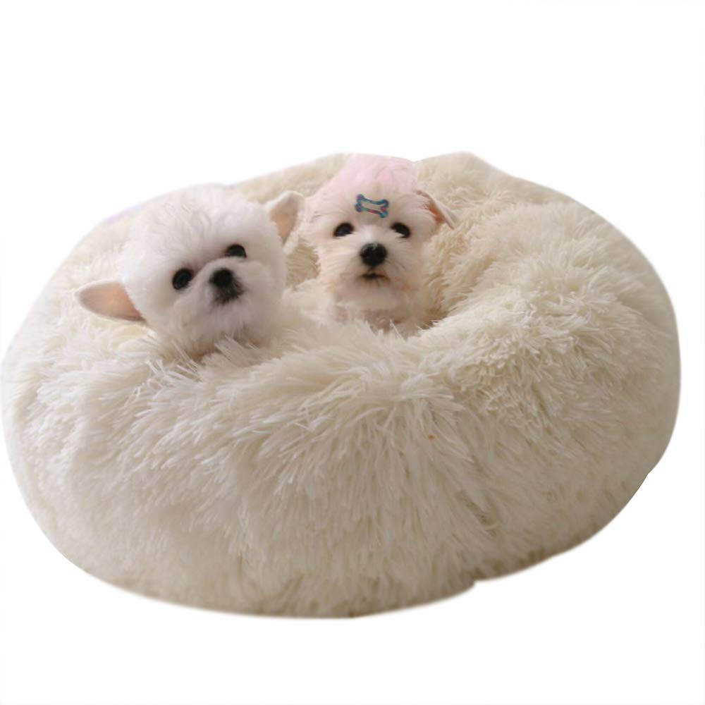 White Small White Small Winter Plush Pet Nest, Comfortable and Warm, Bite Resistant, Not Easily Deformed, Suitable for Small and Medium Cats Dogs,White,S
