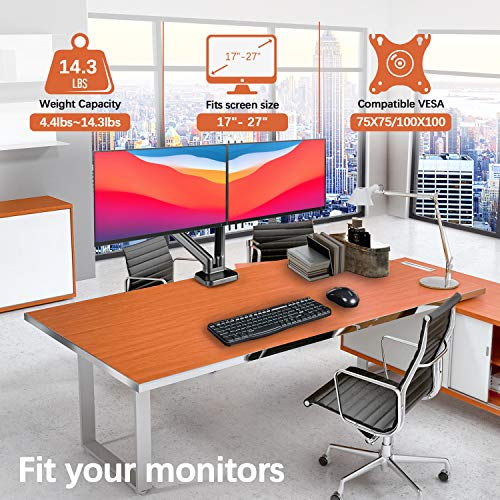 Dual Monitor Stand - PUTORSEN Adjustable Gas Spring Monitor Desk Mount with C Clamp, Grommet Mounting Base - Dual Monitor Arm Fit Two 17 to 27 Inch Computer Screens - Each Arm Holds 4.4 to 14.3lbs