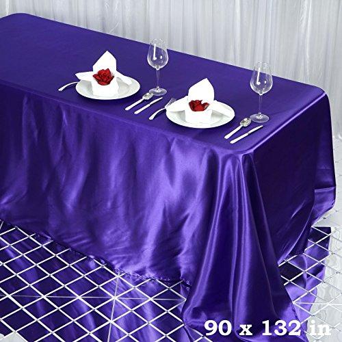 "Efavormart Purple 90x132"" Rectangle Satin Tablecloth"