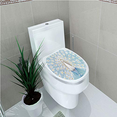 Toilet Applique,Peacock Decor,Decorative Peacock Pattern on The Wall Nature Colorful Stylish Ornate Artwork,Custom Sticker,W12.6