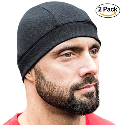 SKULL CAP [BLACK 2 PACK] , Best as a Helmet Liner, Great Thermal Cycling Caps, Running Hat and Sports Beanie, Perfect under Motorcycle Helmets, Covers Ears and Wicks Moisture (Bicycle Skull Cap)