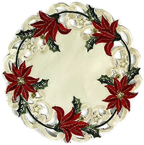 Amazon.com: Ronda Doily de Navidad o Placemat bordado con un ...