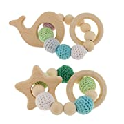 Baosity 2Pcs Star Whale Natural Wood Baby Teether Teething Bracelet Ring Beads Hand Chain Toy