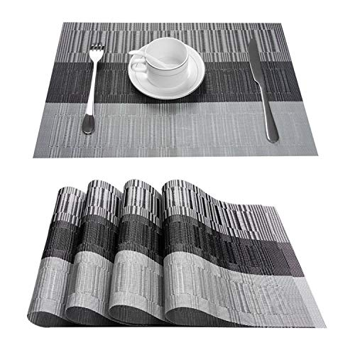 - Top Finel Placemats for Dining Table,PVC Table Mats Set of 4,Place Mats Non-Slip Heat Resistant Washable,Grey&Black