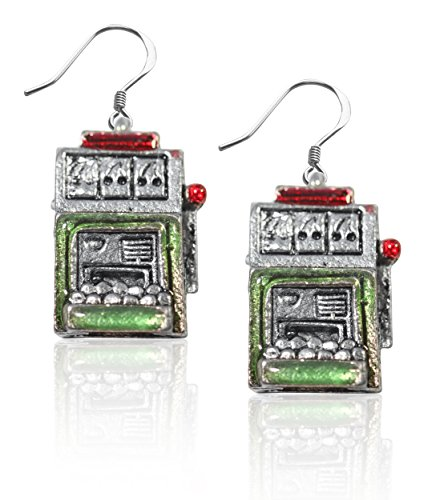 Whimsical Gifts Casino Charm Earrings (Slot Machine, Silver) ()