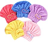 Wheelsp 5 Pack Bowknot Microfiber Hair Drying Towels,Fast Coral Velvet Drying Long Hair Turban Wrap,Absorbent Twist Turban Princess Shower Cap For Women And Children